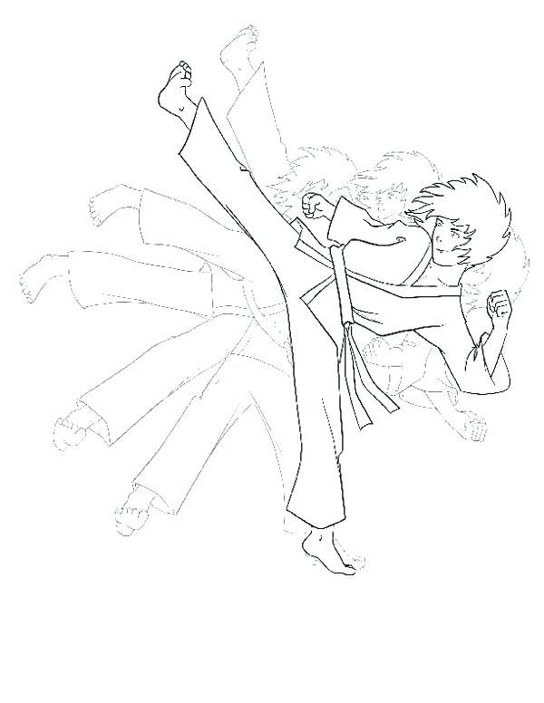 600x776 Coloring Pages Karate Kid Shadow Kick Coloring Page Free Karate