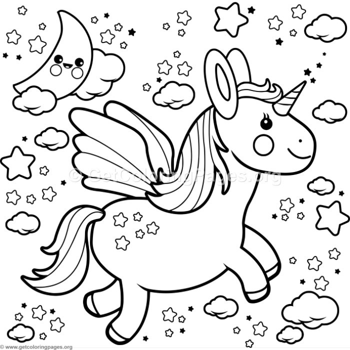 700x700 Flying Kawaii Unicorn Coloring Pages