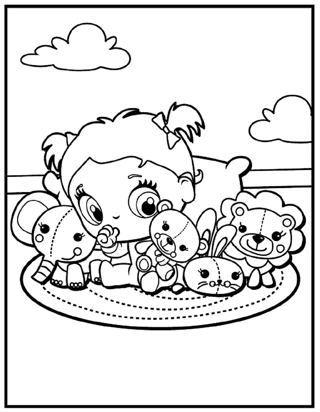 1024x1320 Kawaii Animals And Cute Girl Coloring Page