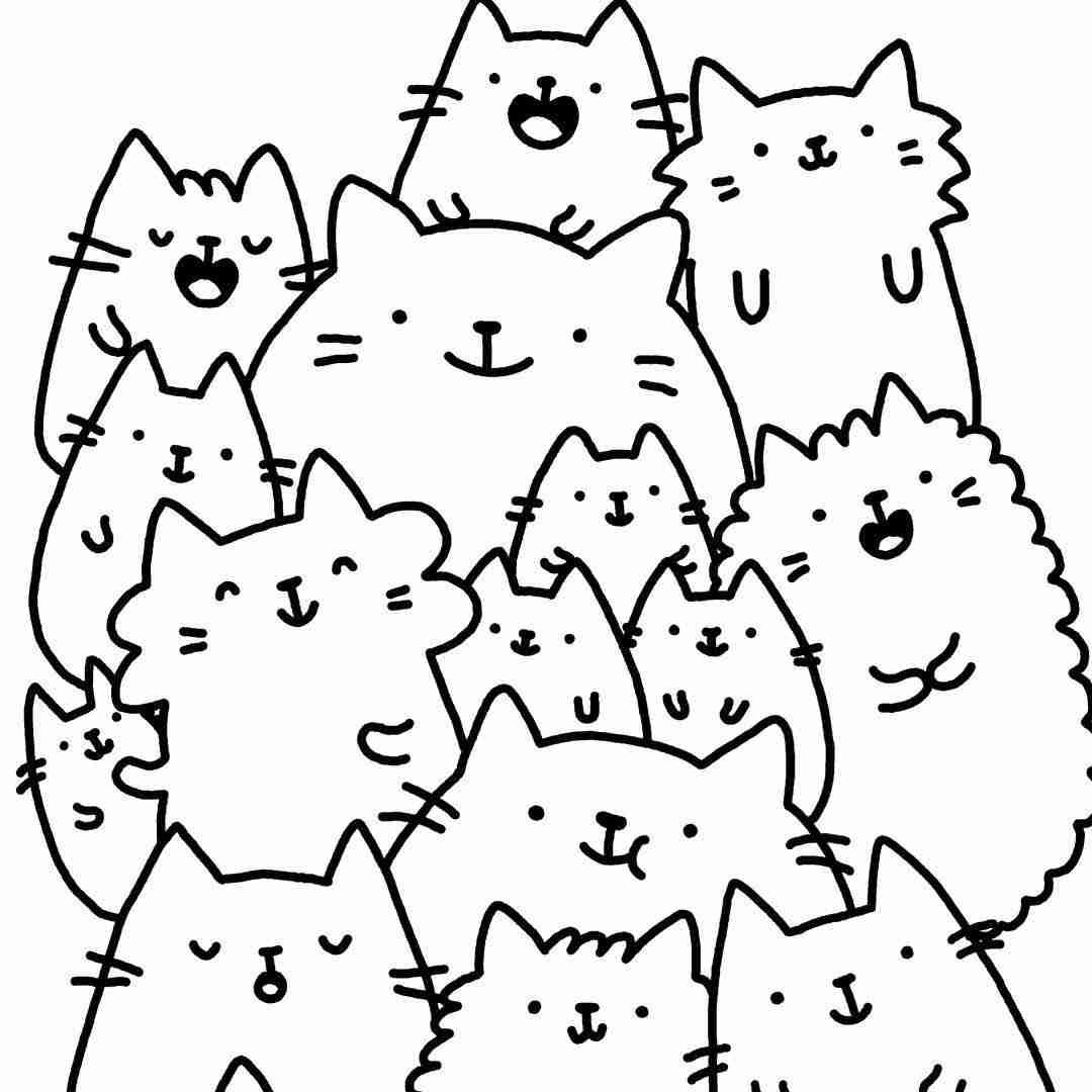 Kawaii Cat Coloring Pages at GetDrawings | Free download