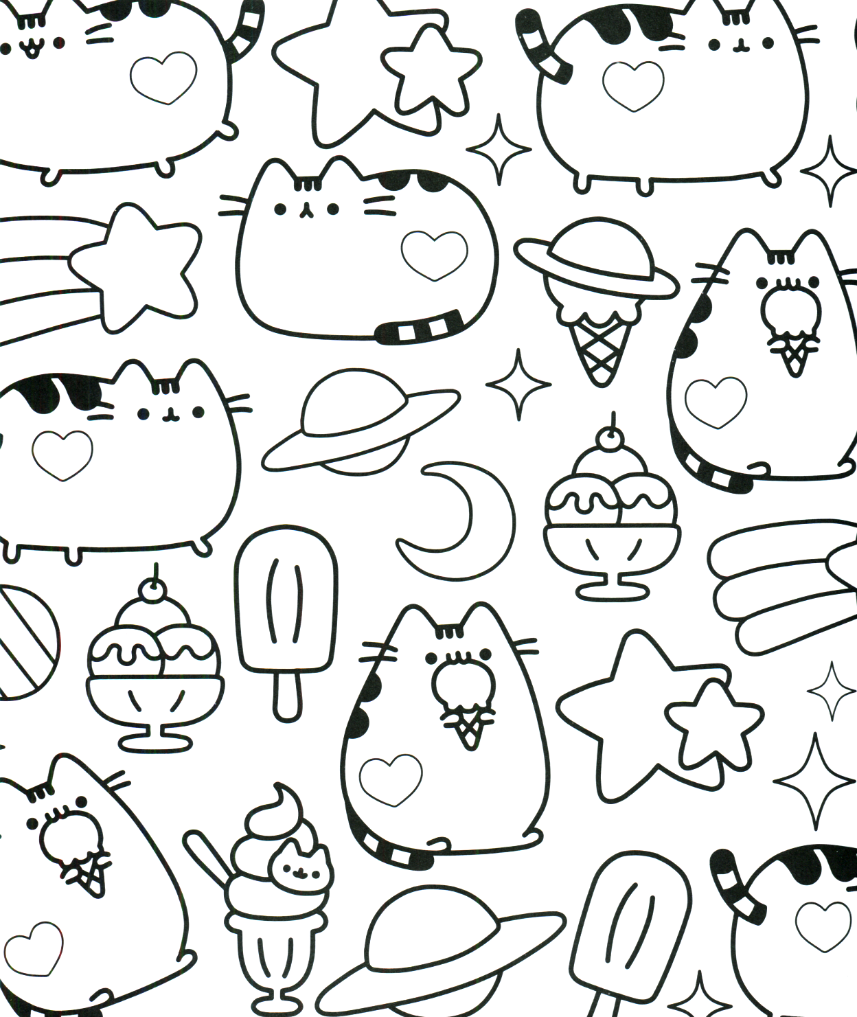 Kawaii Cat Coloring Pages At Getdrawings Com Free For