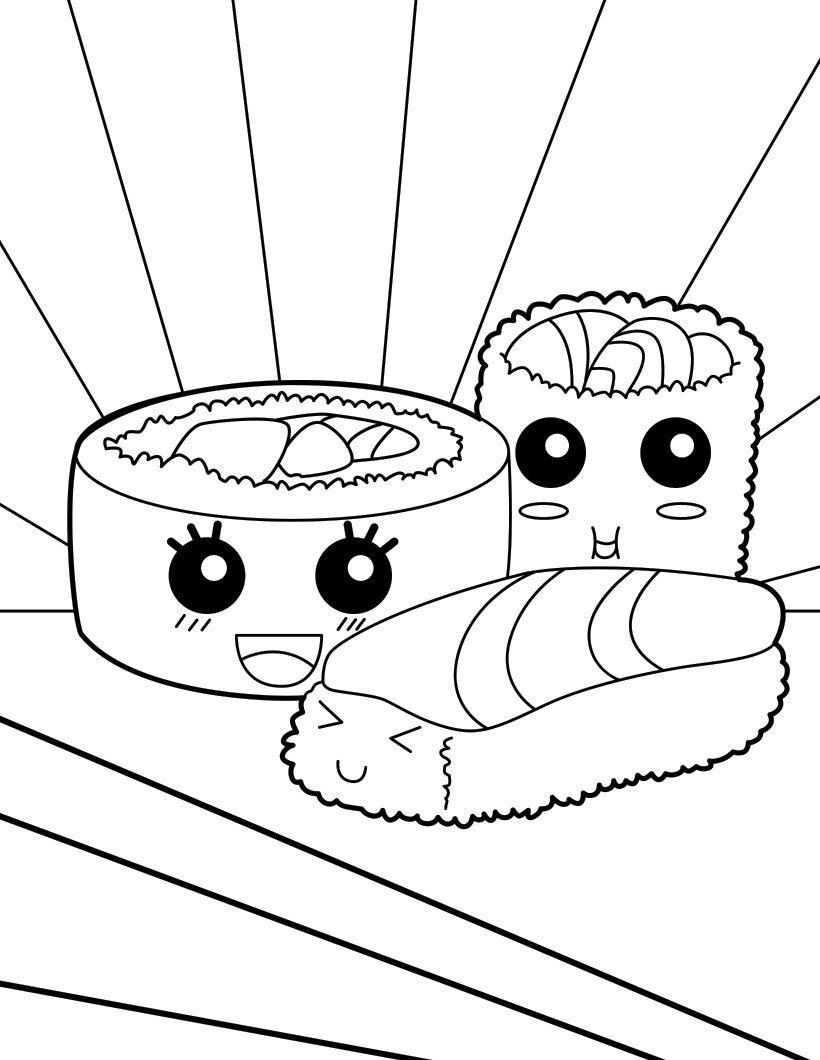 820x1060 Sushi Makis Coloring Page Coloring Pages Kawaii