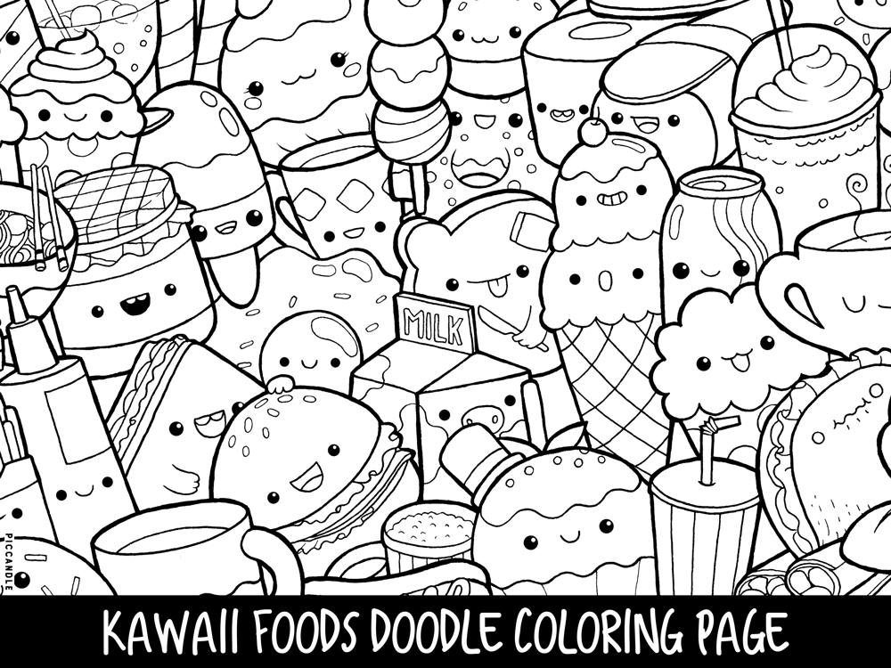 1000x750 Adorable Kawaii Coloring Pages Colouring For Snazzy Foods Doodle