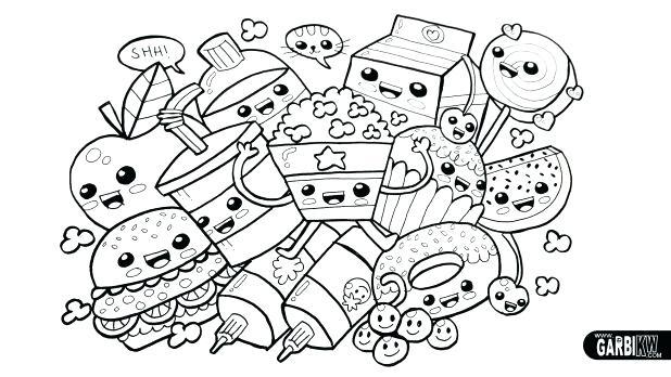 618x348 Kawaii Coloring Pages Printable Drawing Cute Food Easy