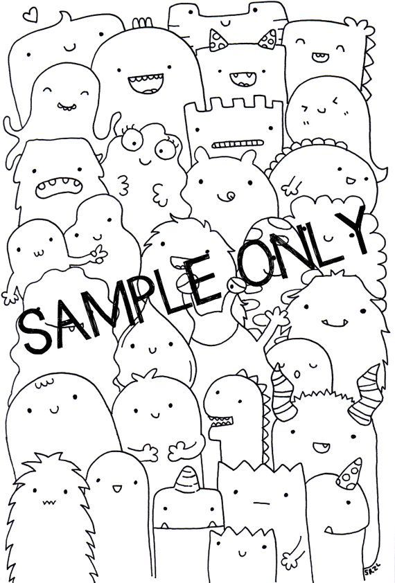 570x842 Adult Printable Coloring Page Wall Art Doodle Kawaii