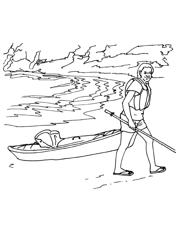 612x792 Lady With Kayak Coloring Page Download Free Lady With Kayak