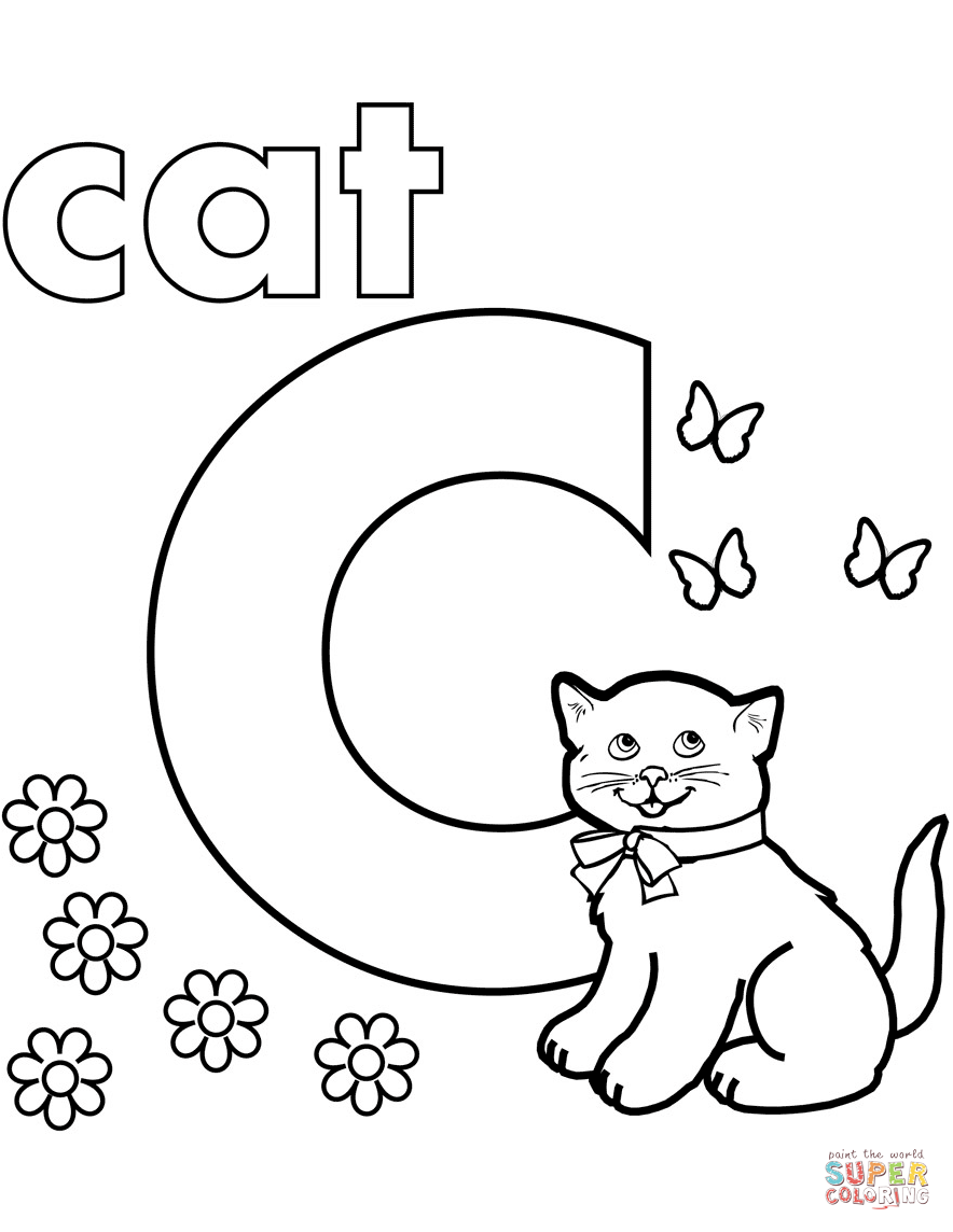 884x1144 C Coloring Pages Letter With Animals Page Free Printable