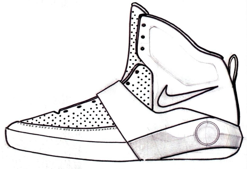 1043x715 Kd Nike Shoes Coloring Pages Basketball Drawing Stunning Air Drawn