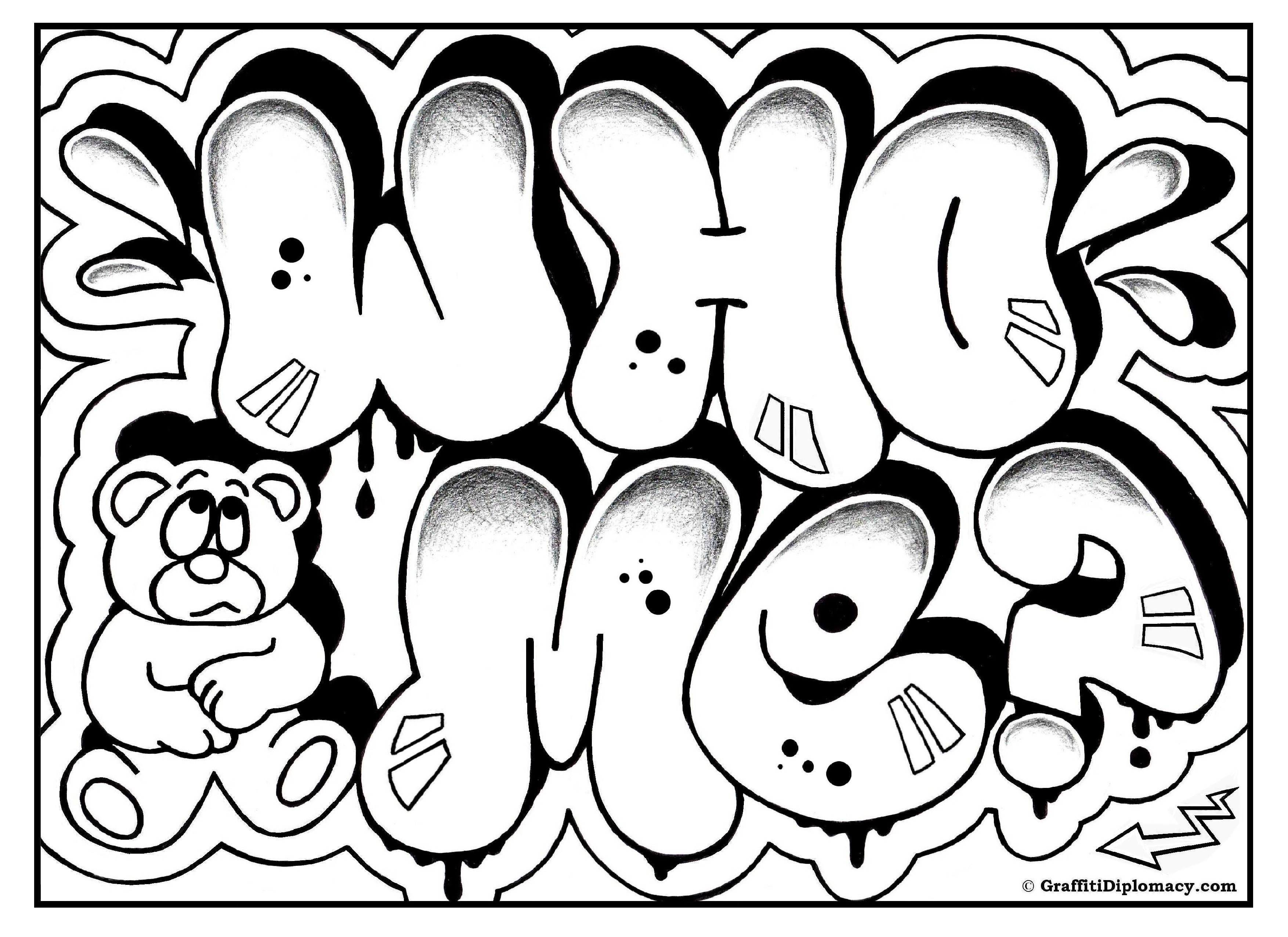 3508x2552 Crazy Graffiti Coloring Pages Page Free Printable Room Signs