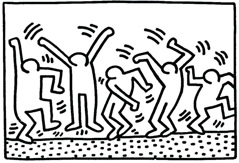 Dancing Figures by Keith Haring coloring page | Free Printable ... | 545x800