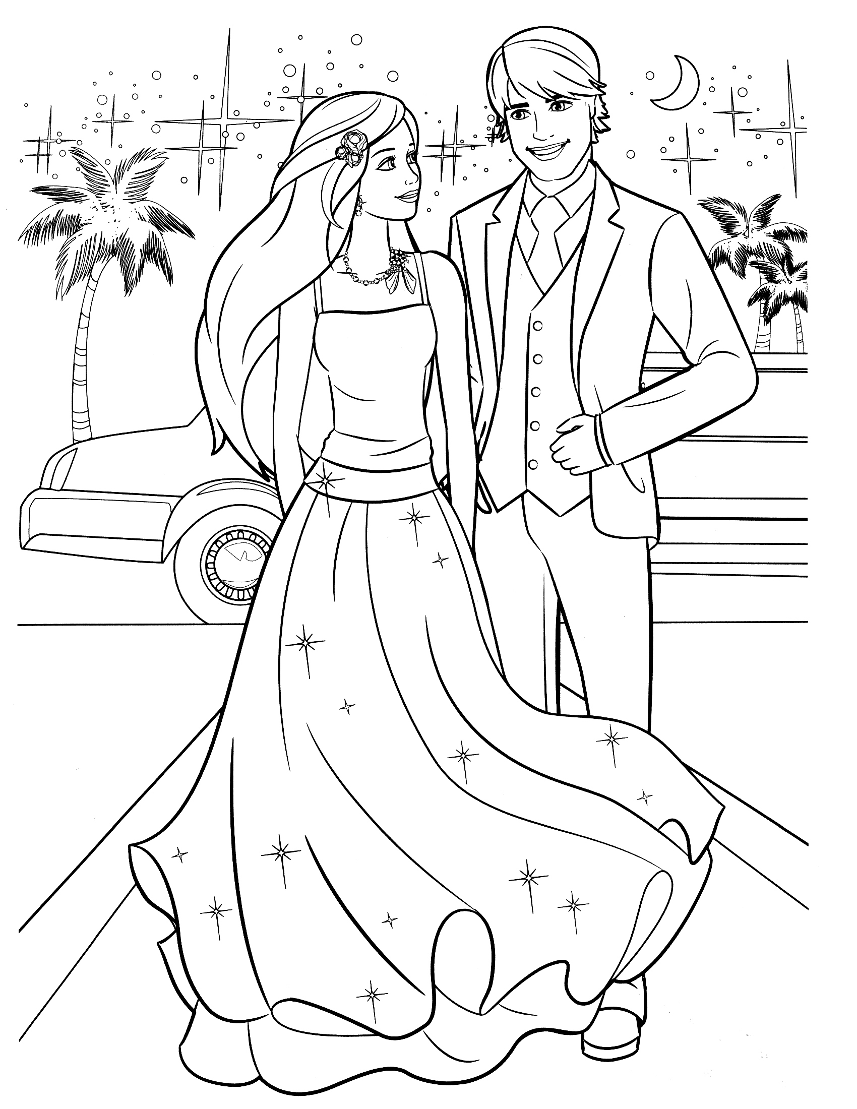 1700x2200 Barbie And Ken Coloring Pages