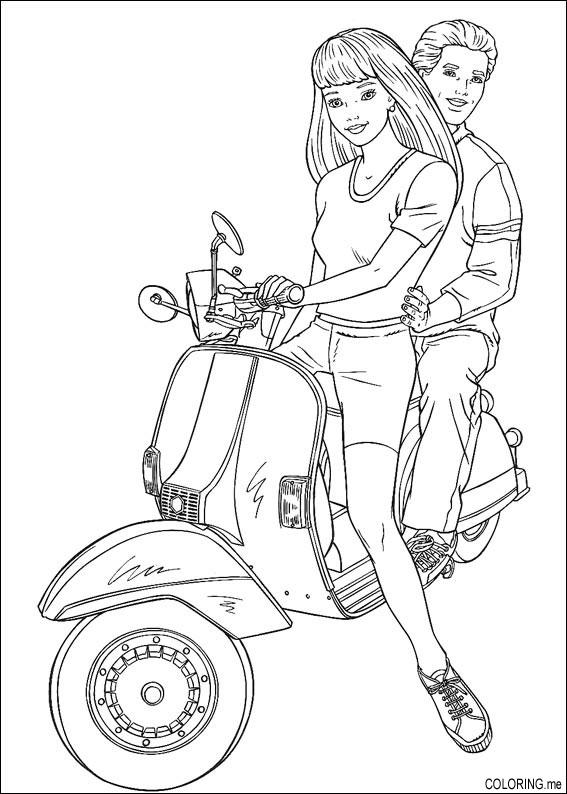 567x794 Coloring Page Barbie And Ken On Scooter