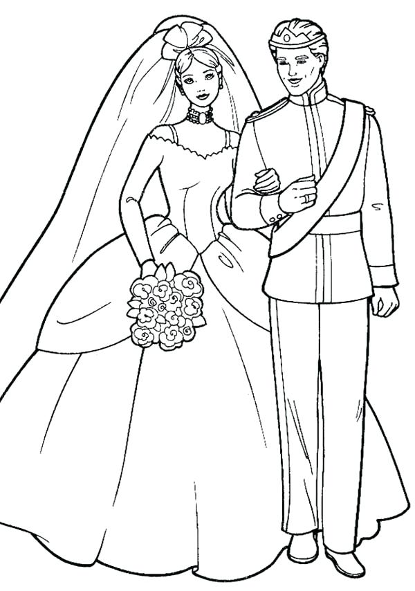600x854 Wedding Coloring Page Barbie And Ken In Wedding Ceremony Coloring