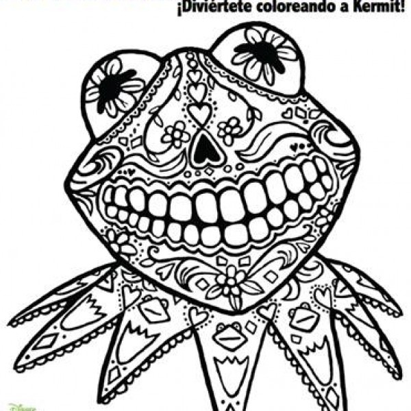 600x600 Day Of Dead Coloring Page Starring Kermit Frog Fab Find