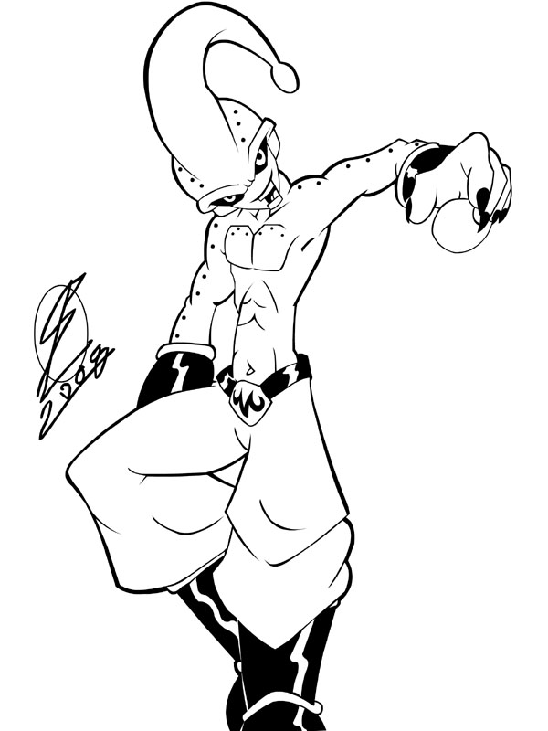 600x800 Kid Flash Coloring Pages Kid Buu Flash Inked By, Kid Buu Coloring
