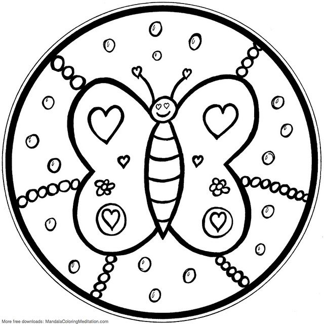 640x640 Printable Children Coloring Page Butterfly Mandala Mandala