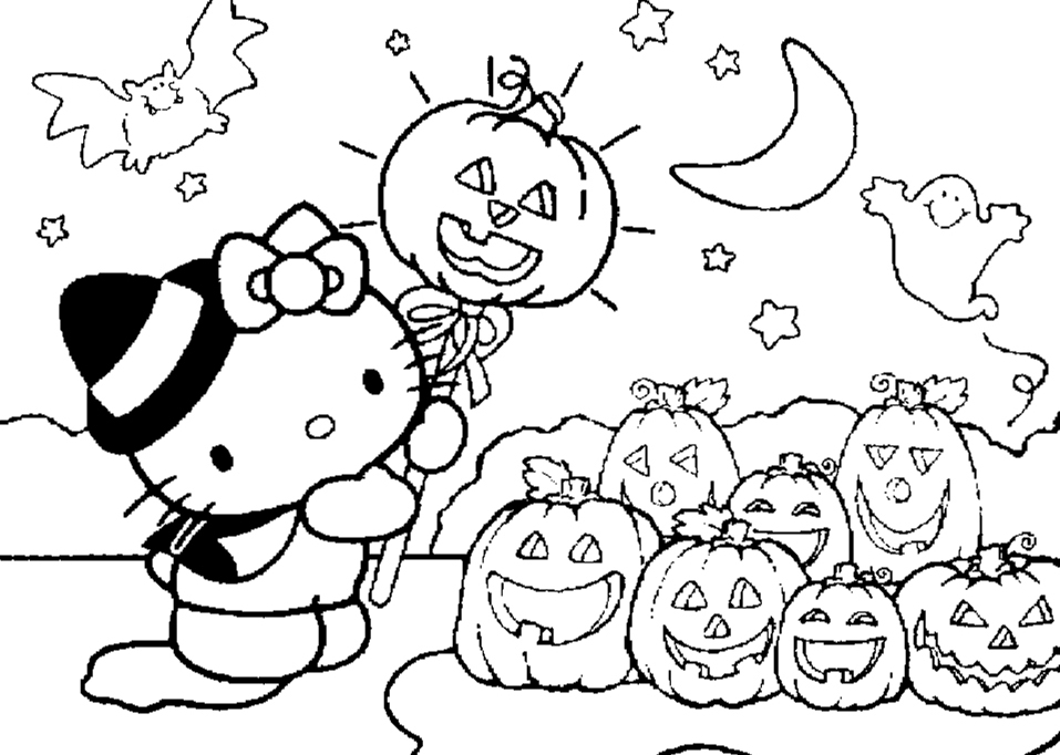 957x682 Cute Hello Kitty Halloween Coloring Pages For Kids With Pumkins
