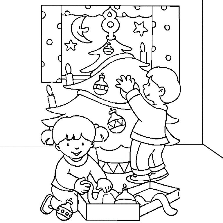 768x768 Christmas Tree Decorated Coloring Sheets