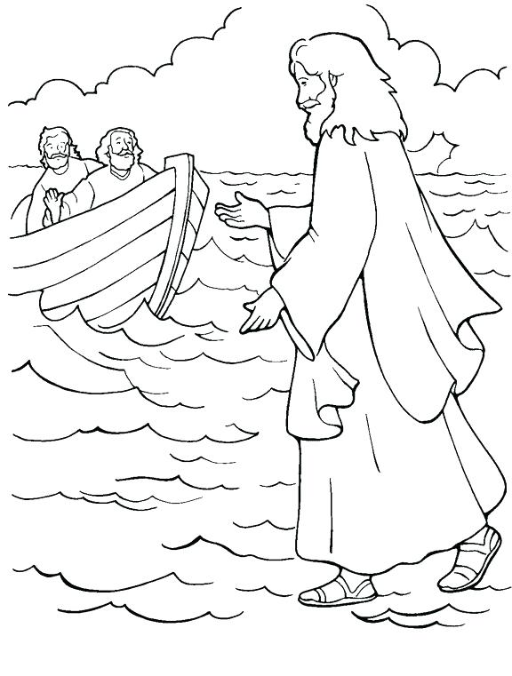 576x761 Bible Stories For Toddlers Coloring Pages Best Walks On Water