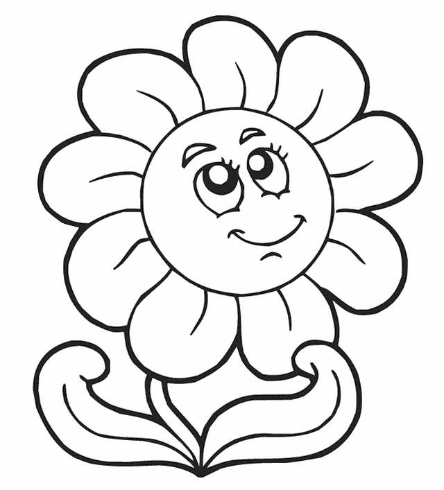 640x707 Coloring Pages Of Flowers For Kids Coloring Pages For Kids Flowers