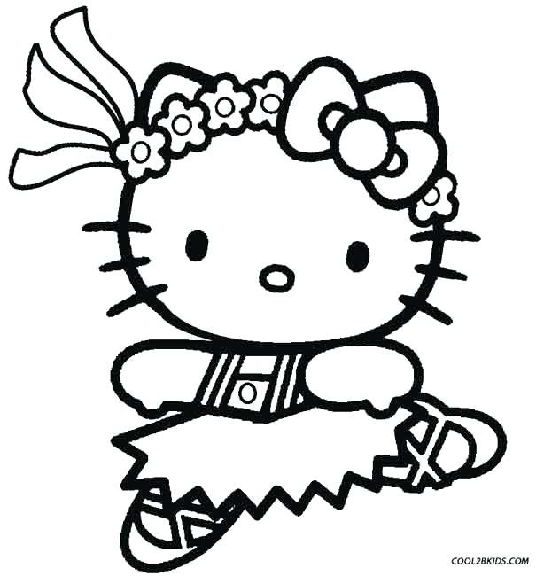 614x650 Hello Kitty Ballet Coloring Pages Printable For Kids Ballerina