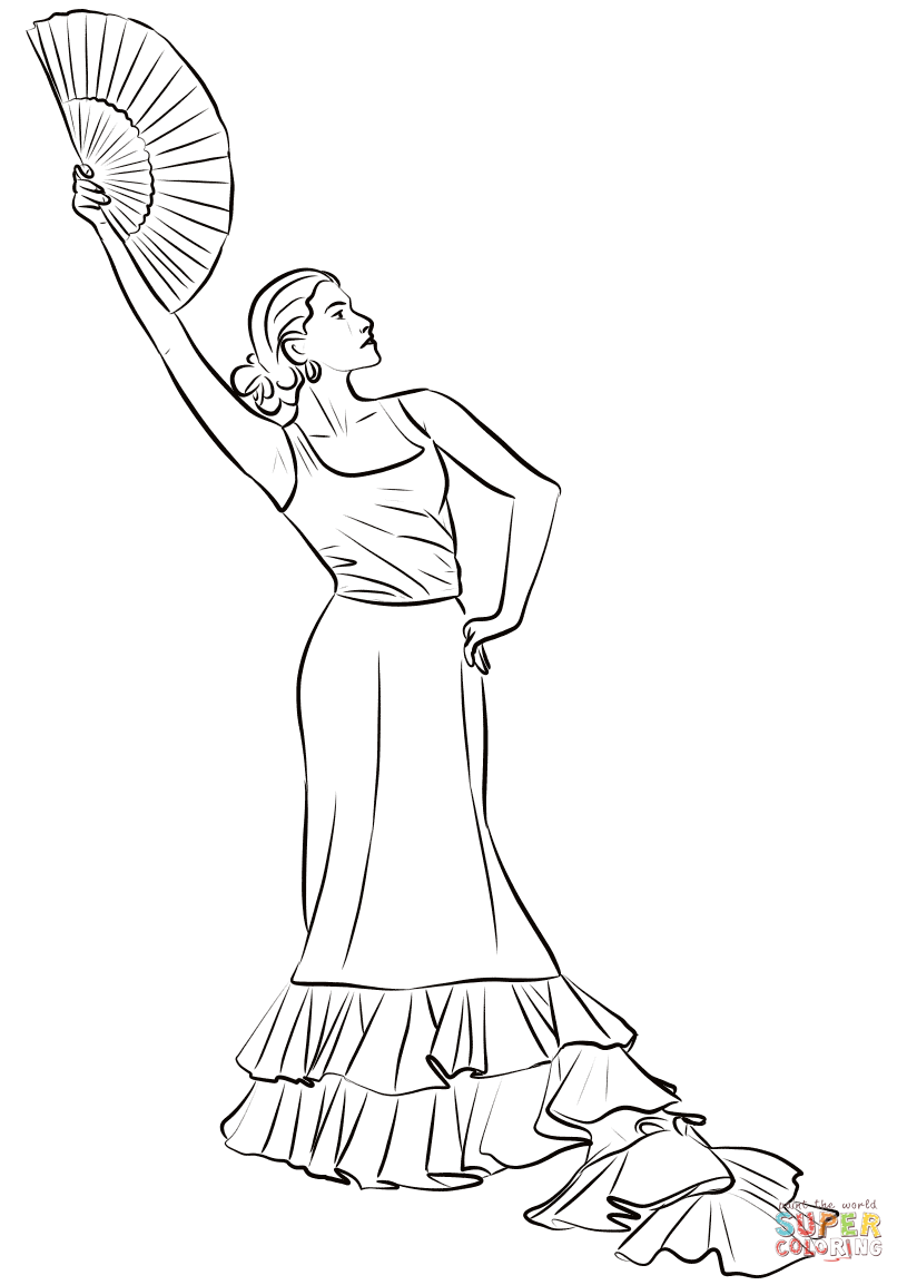 815x1154 Spanish Dancing Coloring Pages Page For Kids Woman Flamenco