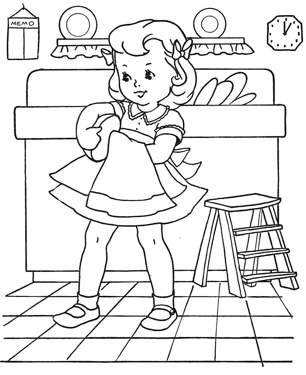 1037x1268 Introducing Kids Doing Chores Coloring Pages G