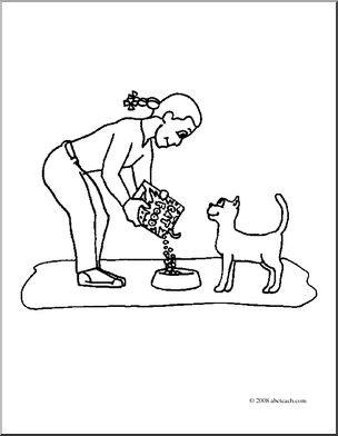 304x392 Clip Art Kids Chores Feeding The Cat