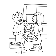 Kids Helping Coloring Page