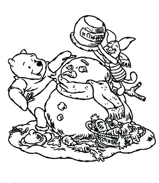 518x593 Santa And Snowman Coloring Pages Helping Coloring Page The Pooh