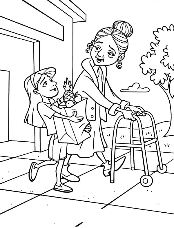 Kids Helping Coloring Page At Getdrawingscom Free For Personal