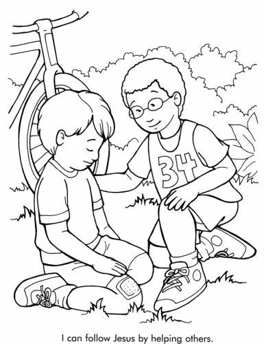 385x500 Coloring Pages Of Kids Helping Others Coloring