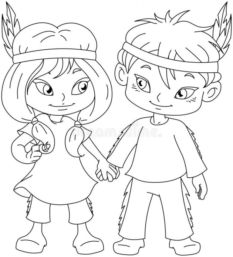 768x849 Coloring Page Of Indian Boy Best Girl Holding Hands Thanksgiving