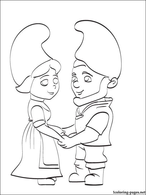 560x750 Lovers Gnomeo Juliet Holding Hands Coloring Page Coloring Pages