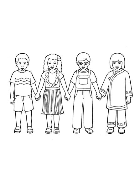 447x596 Children Holding Hands Coloring Page A Line Drawing Showing Four