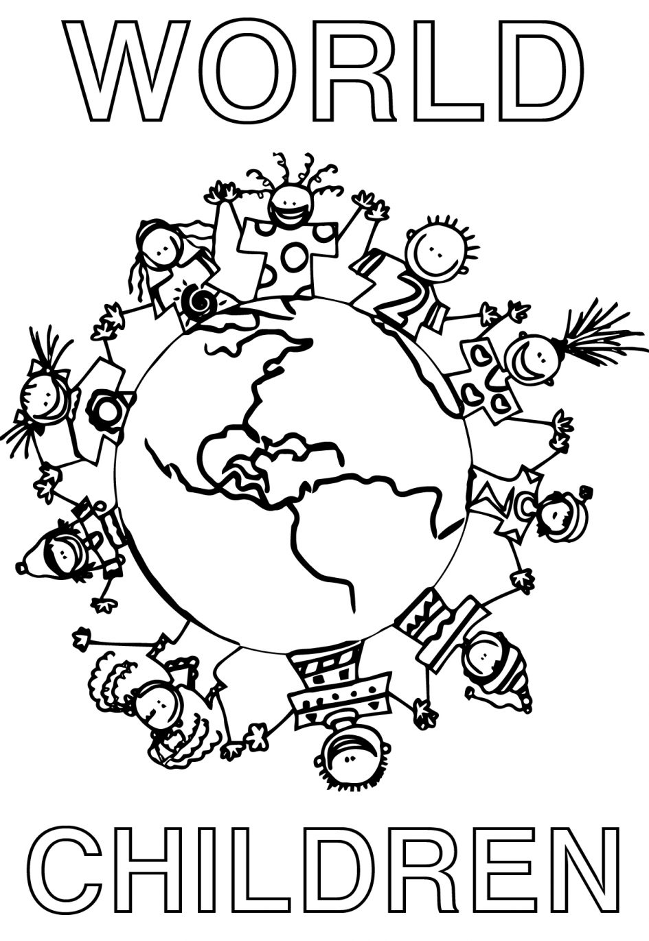 945x1371 Children Holding Hands Around World Coloring Page Cute Within
