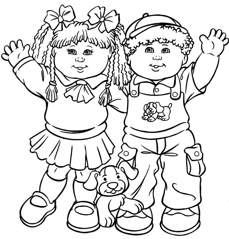 Kids Playing Coloring Pages