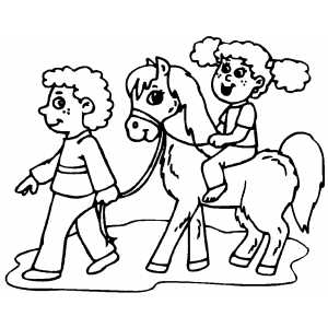 300x300 Kids On Pony Coloring Page