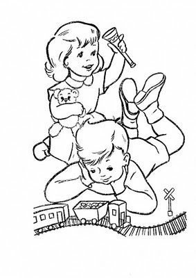 283x400 Kids Playing Coloring Page Odds Ends