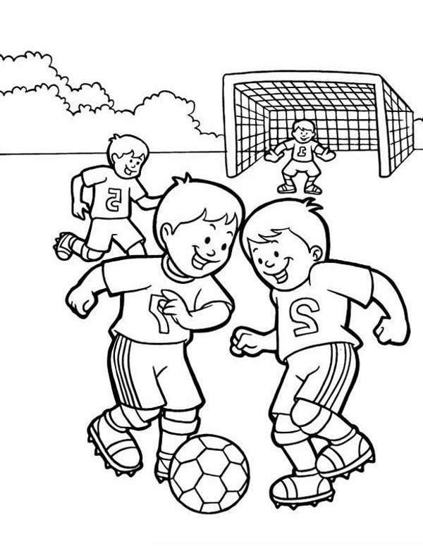 600x775 A Group Of Kids Playing Soccer In The School Yard Coloring Page