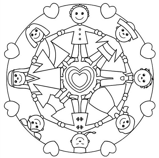 558x553 Free Mandala Coloring Pages For Kids Kids Playing Together