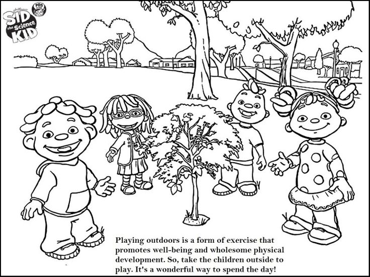 Kids Playing Outside Coloring Pages
