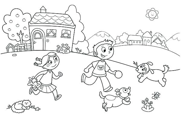 600x388 Ideas Kids Playing Coloring Pages For Children Playing Outside