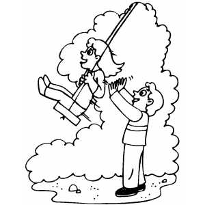 300x300 Kids On Swing Coloring Page