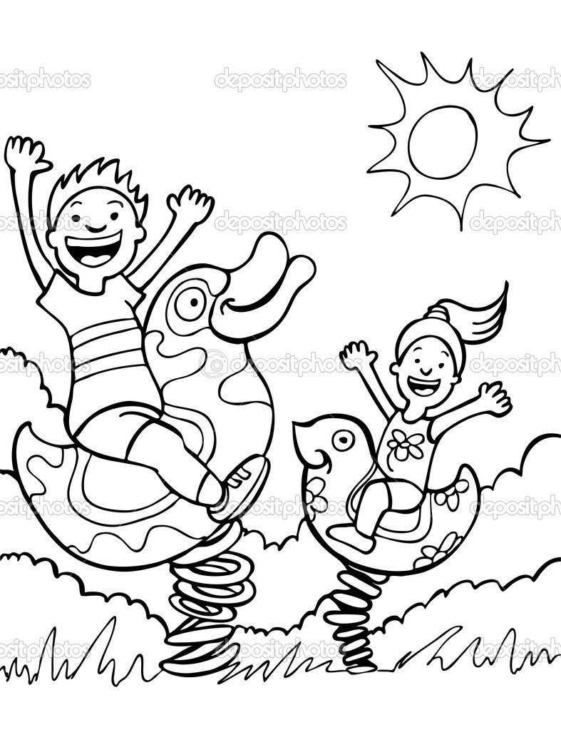 787x1023 Nice Children Playing Coloring Page Mold