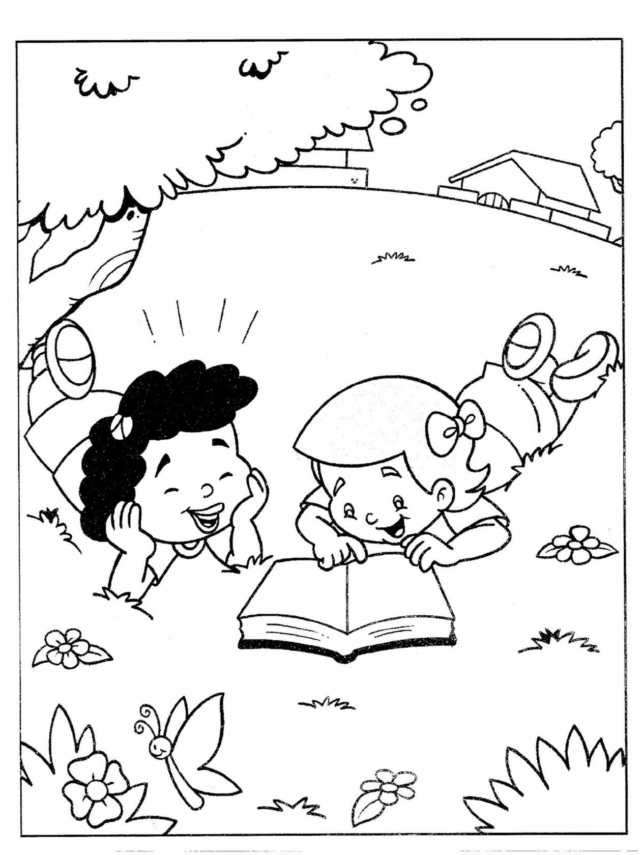 Kids Reading Coloring Pages