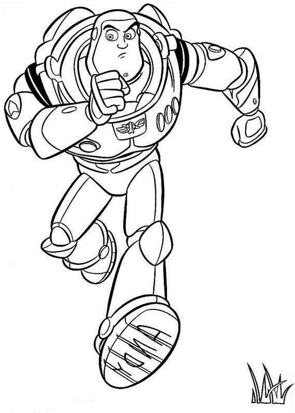 600x840 Buzz Is Running Toy Story Coloring Pages