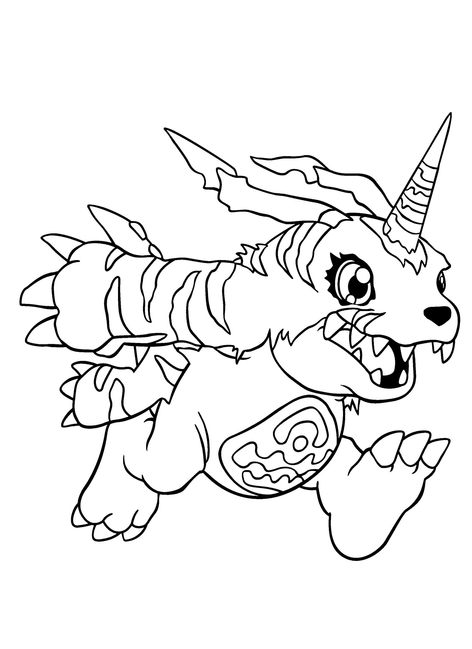 1500x2063 Gabumon Running Coloring Page Digimon Coloring Page