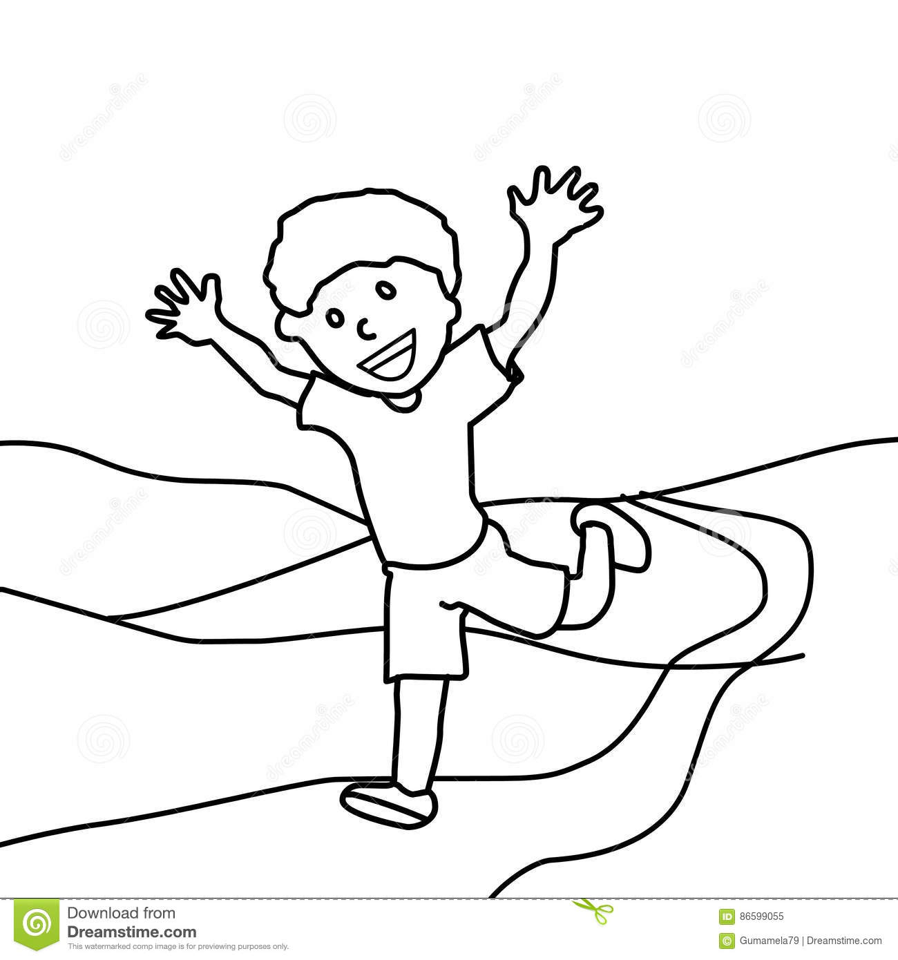 1300x1390 Happy Boy Running Coloring Page Hand Drawn Horizon Kids
