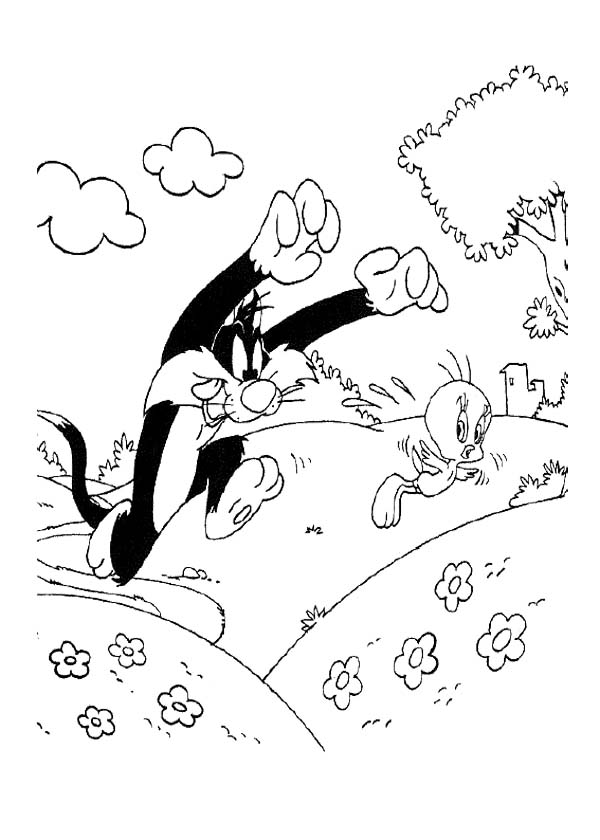 600x840 Tweety And Sylvester Running Coloring Page Tweety Coloring Page